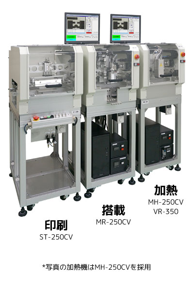 モバイル実装ライン3、ST-250CV+MR-250CV+MH-250CV、イメージ画像 垂直版離れ式・ライン対応簡易印刷機を組み込んだ小ロット生産向け実装ライン